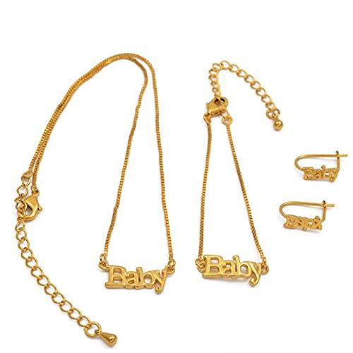 UCJHXFR Collar De Bebé 30 Cm 13 Cm Pulsera Pendientes De Niño Regalo De Cumpleaños De Hija Dorada # 048311