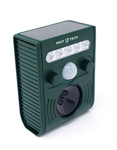 Pest Tech Repelente de Animales ultrasónica. Alimentación con Panel Solar con baterías Recargables (Incluidas).