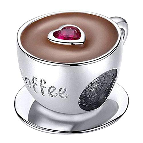 oshhni S925 Espaciador de Perlas Sueltas para Taza de Café con Perlas de Plata Esterlina para Pulsera
