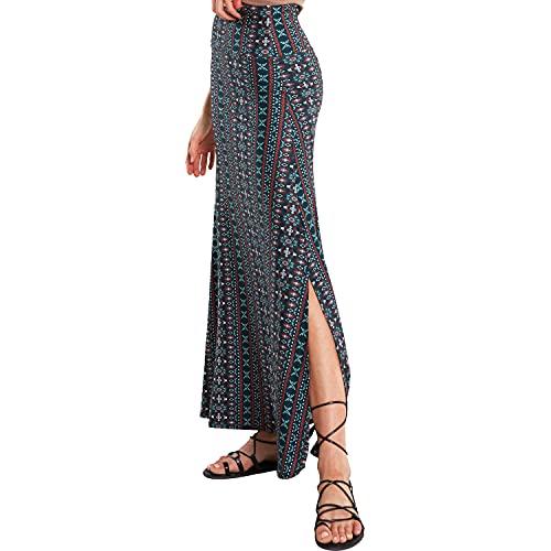 noflik Fold-Over Long Maxi Skirts - High Waist Skirt