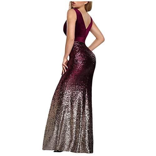 MarryoU Damen V-Ausschnitt Abendkleid Ballkleid sexy Pailletten Taille Kleid Elegant Lang Kleid ärmellose Sling Off-Shoulder-Kleider Neckholderkleider