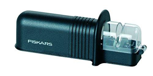 Fiskars Roll-Sharp Messerschärfer mit Keramik-Schleifstein, Kunststoff, Schwarz, Essential, 1023811