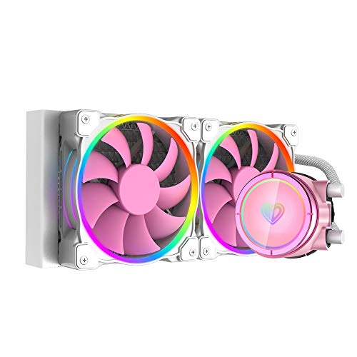 ID-COOLING PINKFLOW 240 CPU Water Cooler 5V Addressable RGB AIO Cooler 240mm CPU Liquid Cooler 2X120mm RGB Fan, Intel 115X/2066, AMD TR4/AM4