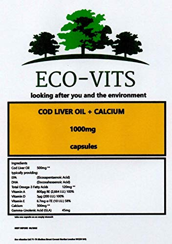 ECO-VITS COD Liver and Calcium (1000mg) 365 CAPS. Biodegradable Packaging. Sealed Pouch