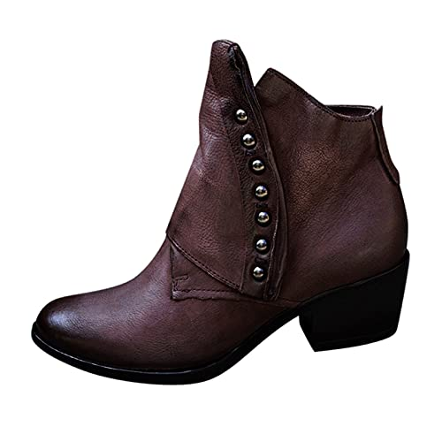 Fullwei Cowboy Booties for Women,Women Vintage Cowgirl Pointed Toe Combat Ankle Boot Ladies Casual Western Low Heels Motorcycle Riding Boot Walking Shoe (Purple, 10)