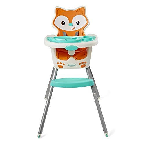 Infantino - Seggiolone 4 in 1, salvaspazio, multi-fase Booster e seggiolone con tappetino multiuso e vassoio lavabile in lavastoviglie, in un design a tema volpe