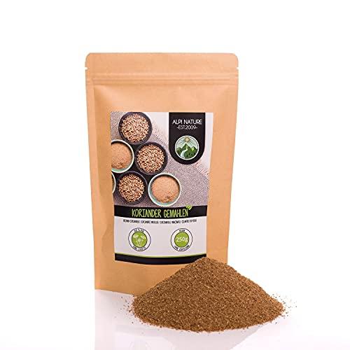 Cilantro molido (250g), polvo de cilantro, semillas de cilantro molidas, especia 100% natural, semillas de cilantro en polvo, sin aditivos, coriandolo, coriander