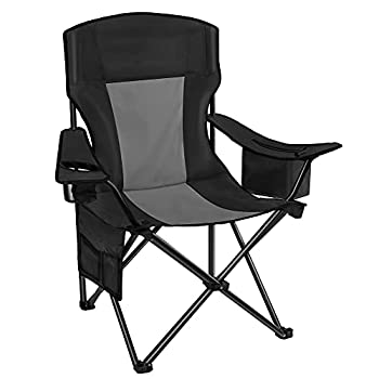 AsterOutdoor Camping Folding Chair Padded Quad Arm Chair with Large Cup Holders & Cooler Side Organizer & Back Pocket for Outdoor Camp Indoor Patio Fishing Supports 350lbs