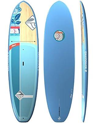 "Boardworks Muse   Recreational Stand Up Paddleboard   EXP Veneer - Epoxy Hardboard   10' 6"", Bamboo/Seafoam/Indigo"
