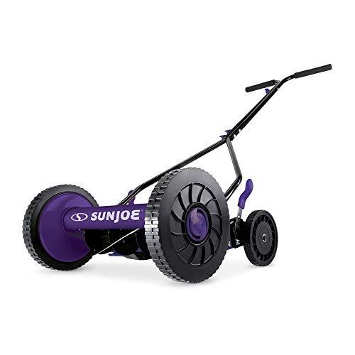 Sun Joe MJ503M-PRP-RM Manual Reel Mower | 14-Inch | Quad Wheel | 9-Position (Purple) (Renewed)