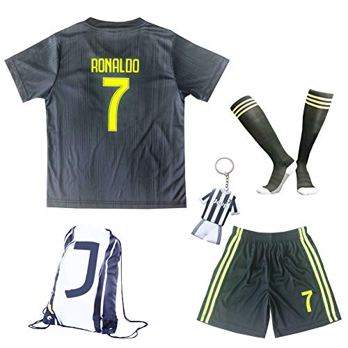 GamesDur 2017/2018 Real Madrid Ronaldo #7 Third Soccer Kids Jersey & Short & Sock & Soccer Bag Youth Sizes (3-4 Years)