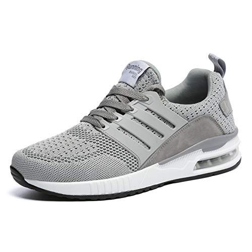 JUXINCHI Herren Damen Sneakers Bequeme Atmungsaktiv Laufschuhe Schnürer Air Profilsohle Sportschuhe Luftpolster Turnschuhe Fitness Leichte Grau 40 EU (Etikette 41)