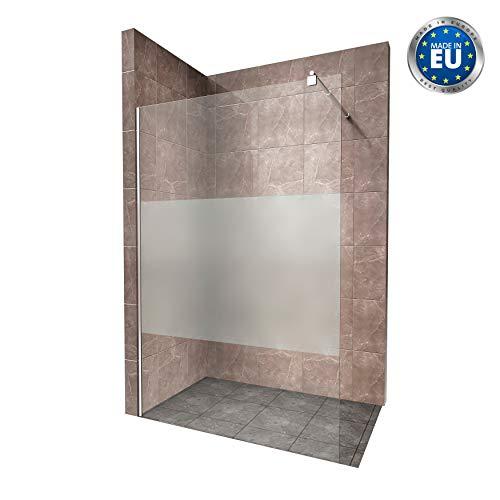 Duschabtrennung Duschwand Walk In Dusche 10mm STARK aus TEIL-SATINIERTEM ESG Sicherheitsglas mit Edelstahl Wandprofilen #740 (150 x 200cm, Teilsatiniertes Glas)