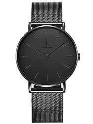 Alienwork IK All Black Damen Herren Armbanduhr Quarz schwarz mit Metall Mesh Armband Edelstahl Ultra-flach Slim-Uhr