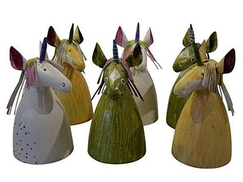 Hochwertige Zaunhocker im Sparset – Pfostenhocker/Zaunfigur Metall – Gartendekoration Zaungucker – Deko Tierfiguren/Gartenfiguren (Einhörner - 6er Set)