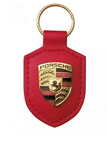 ORIGINAL für Porsche Schlüsselanhänger ROT Leder mit Wappen WAP0500920E