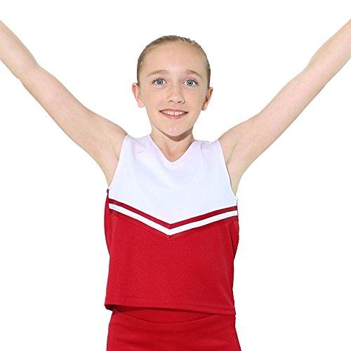 Danzcue - playera de animadoras para niña con cuello en V, Escarlata/Blanco, Large