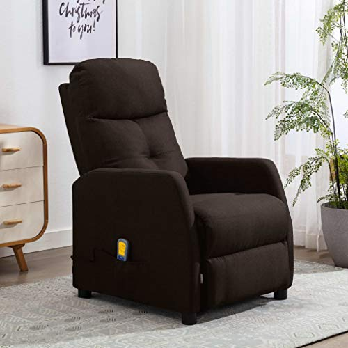 FAMIROSA Sillón reclinable de Masaje de Tela marrón oscuro-9831