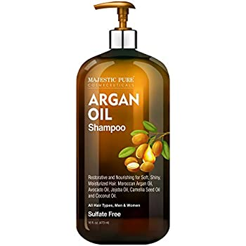 Majestic Pure Argan Oil Shampoo - Vitamin Enriched Gentle Hair Restoration Formula for Daily Use Sulfate Free for All Hair Types Men and Women - 16 fl oz.