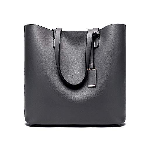 Bolso de mano para mujer de piel de microfibra con borde cruzado de gran capacidad bolso de hombro de las mujeres, gris oscuro (Gris) - 6942684947377