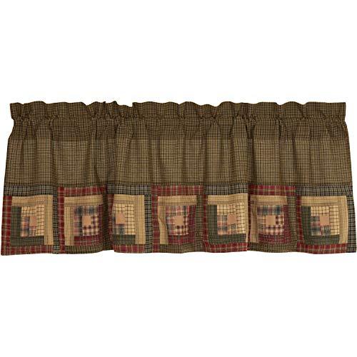 VHC Brands Tea Cabin Log Cabin Block Border Valance 20x60 Country Rustic Curtain, Moss Green