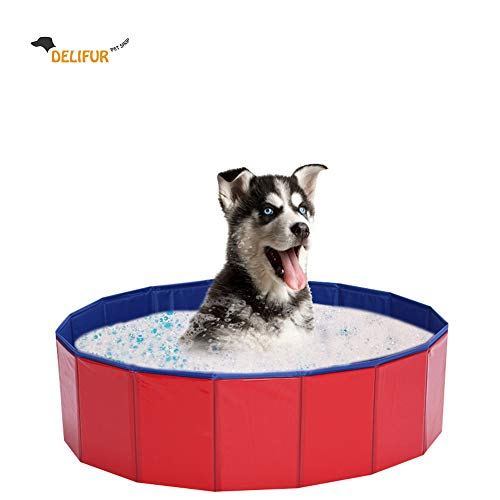 Delifur Foldable PVC Dog Cat Water Pool Pet...