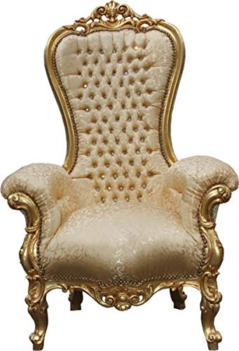 Casa Padrino Baroque Throne Majestic Medium Gold Pattern/Gold with Bling Bling Diamante - Throne Chair