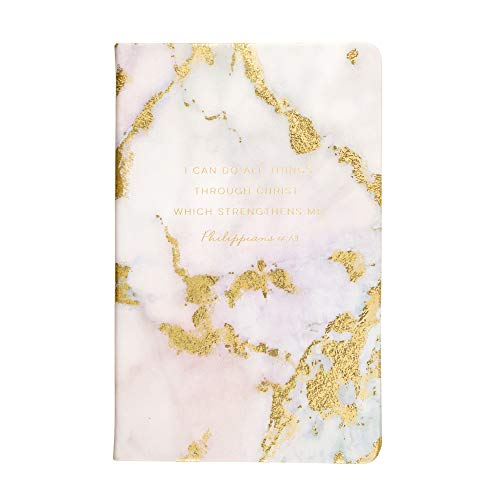 """Eccolo Christian Writing Journal, """"I Can Do All This"""", 200 Page Notebook with Inspirational Bible Verses, Flexible Cover, Ribbon Bookmark, 8.5x5.5"""