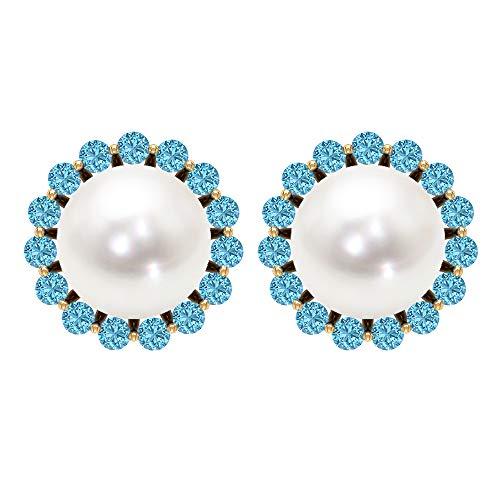Solitaire - Pendientes de tuerca con perlas de agua dulce de 6,45 quilates, diseño de halo de aguamarina, estilo antiguo, para boda nupcial, pendientes cómodos con rosca trasera blanco