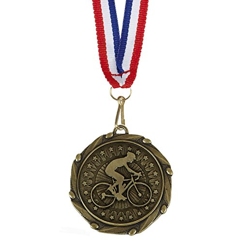 Womack Graphics - Confezione da 10 medaglie da ciclismo, 45 mm, con nastri rossi, bianchi e blu, con incisione gratuita fino a 50 lettere