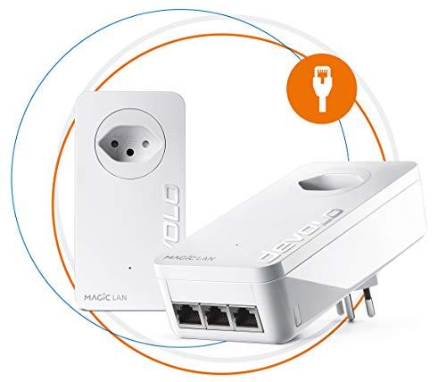 Devolo Magic 2 LAN Triple: Powerline Starter Kit voor stabiel thuisnetwerk via elektriciteitsleiding door muren en plafonds, G.hn-technologie, 3 Gigabit LAN-aansluitingen, Zwitserse stekker
