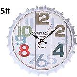 MachinYeser Reloj de Pared Creativo Retro con Tapa de Botella de Cerveza Reloj de Pared de la Sala de Estar (Color: 5#)