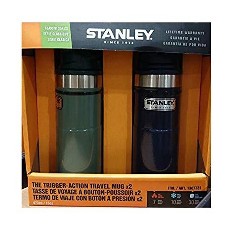 STANLEY スタンレー クラシック ワンハンド 真空 サーモマグ 16oz 473mL 0.47L 水筒x2色2個セット (グリーン+ネイビー)
