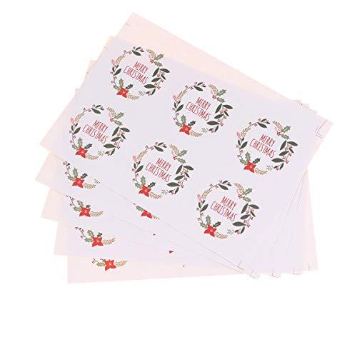 UPKOCH 5 hojas pegatina de navidad feliz navidad guirnalda redonda pegatinas etiquetas etiquetas adhesivas galletas decorativas dulces bolsa sellado pegatinas para fiesta de navidad favor