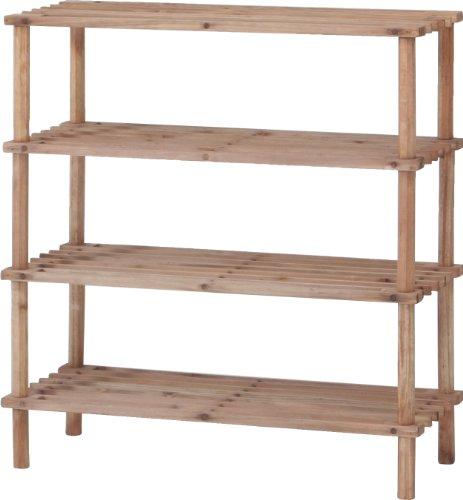 不二貿易 シューズラック 4段 幅63cm ブラウン 木製 簡単組み立て 89980