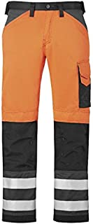 Snickers 33335574250 Size 250 Class 2 High-Vis Trousers - Orange/Muted Black