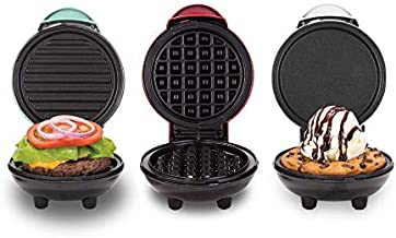 Dash DGMS03GBCL Mini Maker + Grill Griddle + Waffle Iron, 3 pack, Red/Aqua/White