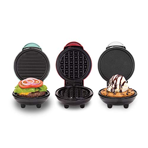 Sale!! Dash DGMS03GBCL Mini Maker Grill, Griddle + Waffle Iron, 3 pack, Red/Aqua/White