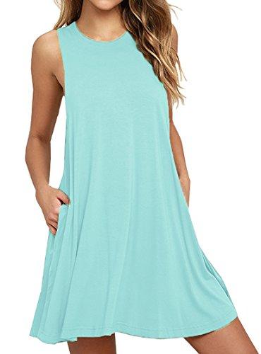 WEACZZY Women Summer Sleeveless Pockets Casual Swing T Shirt Dresses Beach Cover up Plain Pleated Tank Dress (S, 01 Nile Blue)