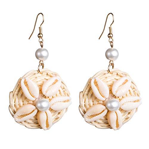 Orecchini in stile vintage, da donna, con perle finte, in rattan, con gancio, idea regalo e lega, finta perla, conchiglia, rattan, colore: Beige, cod. 51004279