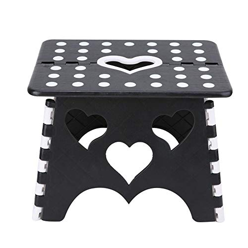 Plastic Stool, Step Stool, Premium Heavy Duty Foldable Folding Stool for Kids Adults Kitchen Garden Step Stool with Handle (#2Black + White)