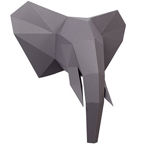 PaperShape 3D Elefant Ausgeschnitten, vorgefalzt und ohne kleben - Tierkopf Wand-Deko aus FSC-Papier in 3 Farben Elefanten-Kopf Maße 44 x 43 x 23 cm. Made in Germany (urban Grey)