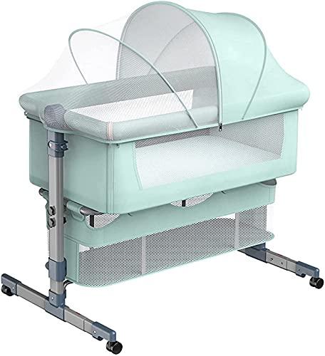 ZGYZ Cuna de cabecera móvil Cuna con Red Transpirable,Cuna de Viaje Cuna de bebé Bionic Cama Cunas de Altura Ajustable,Camas de aleación de Aluminio para niños pequeños
