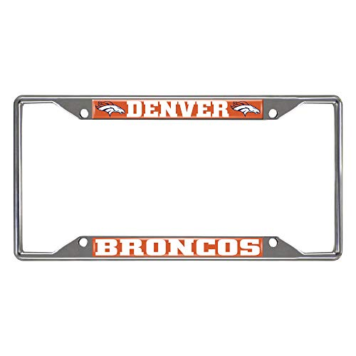 NFL Denver Broncos Chrome License Plate Frame, Chrome, 6.25' x 12.25'