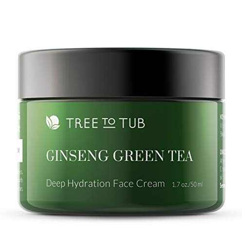 Face Cream for Women by Tree To Tub - Anti Aging Face Cream for Dry and Acne Prone Skin - Best Moisturizer for Face with Vitamin B3, B5, E, Aloe Vera, Ginseng and Green Tea 1.7 oz