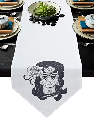 Runner da tavola floreale 30,5 cm x 90 cm antiscivolo resistente al calore tovaglia per famiglia cena ufficio cucina tavolo Decor teschio tatuaggio donna