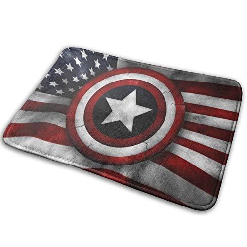 N/A Felpudo de bienvenida para interiores y exteriores, alfombra de entrada, raspador de zapatos, 15.7 x 23.5 pulgadas, ejército, bandera del Capitán América, ejército