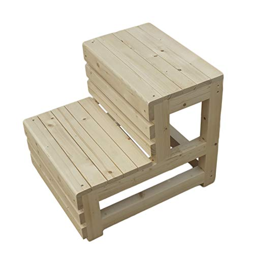 Step Stools Rustic Small Step Stools, Wooden 2 Stepping Footstool for Kitchen Bedside Kitchen, Flower Pot Storage Rack, Max Load 330lbs (Color : White)