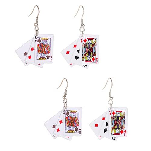 2 pares de pendientes de póquer con corazones rojos creativos, divertidos y encantadores, regalo único para las niñas (estilo A+B, 2 pares)