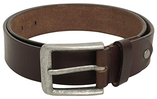 Gusti Gürtel Leder - Kara schlichter Ledergürtel mit silberner Schnalle Anzug Gürtel Herren 115 cm Braun Leder